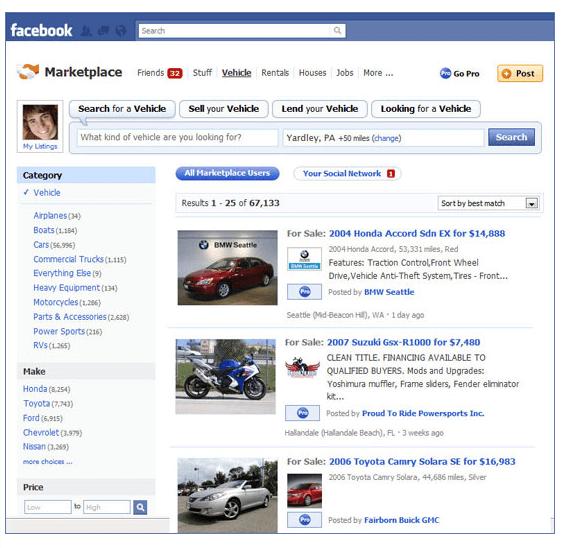 Αγοραπωλησίες αυτοκινήτων στο Facebook Marketplace