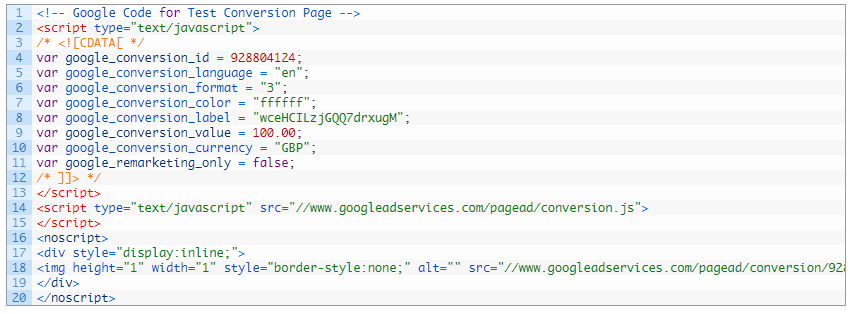 google adwords code