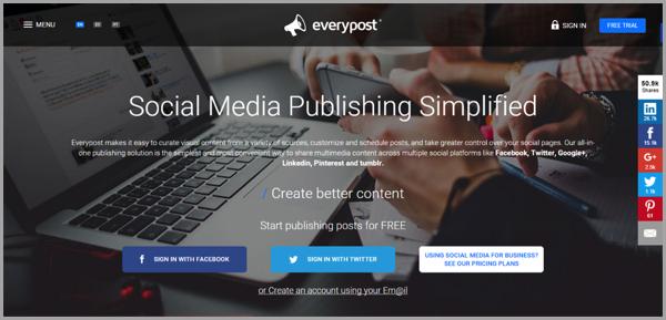 EveryPost social media management εργαλείο