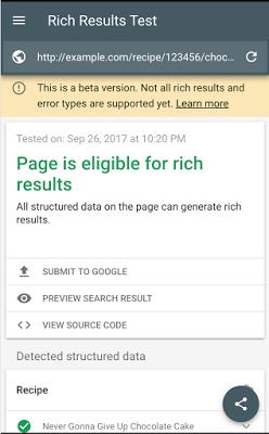 Rich results test tool
