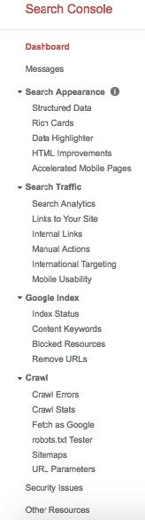 Το dashboard του Google Search Console