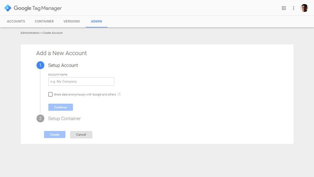 Δημιουργία account στο Google Tag Manager