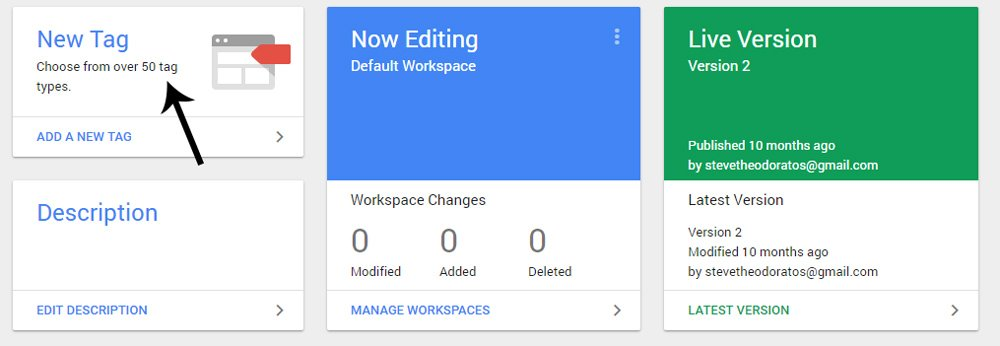 Google Tag Manager new tag