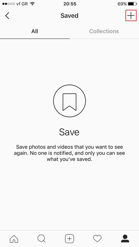 Instagram collections saved screen