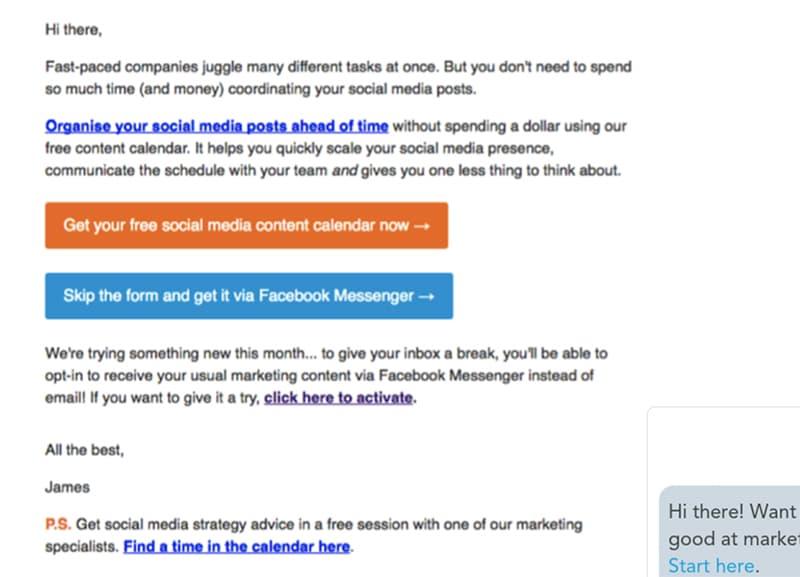 Hubspot's messenger ad campaign