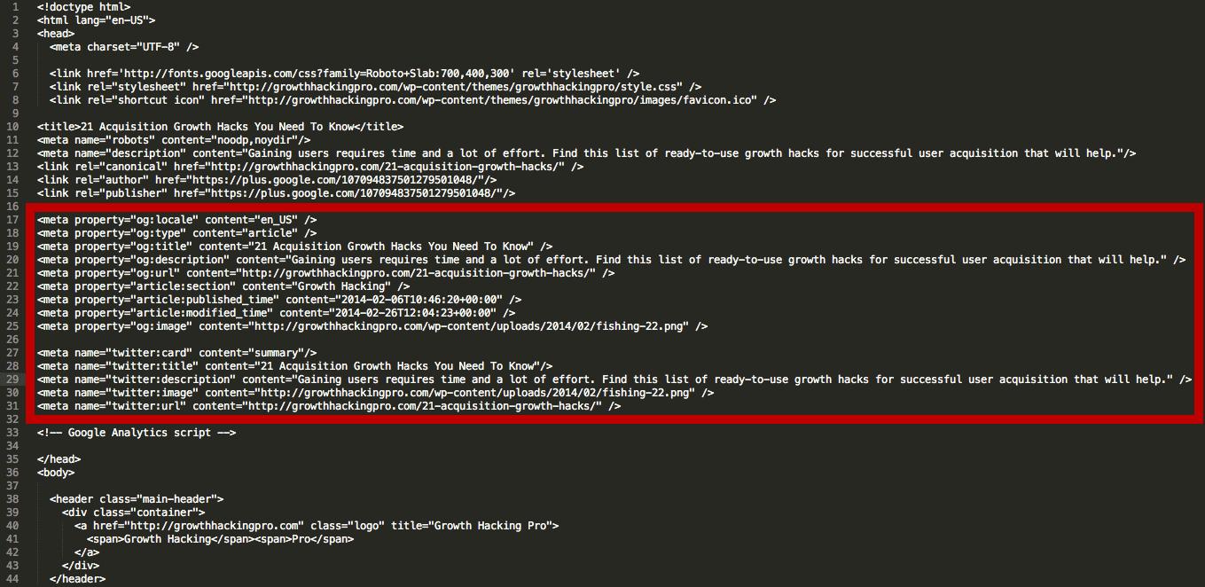 Κώδικας open graph στο head του κώδικα
