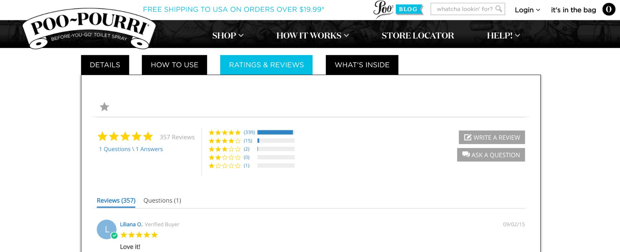 eCommerce tactics: Το rating system του Poo-Pourri