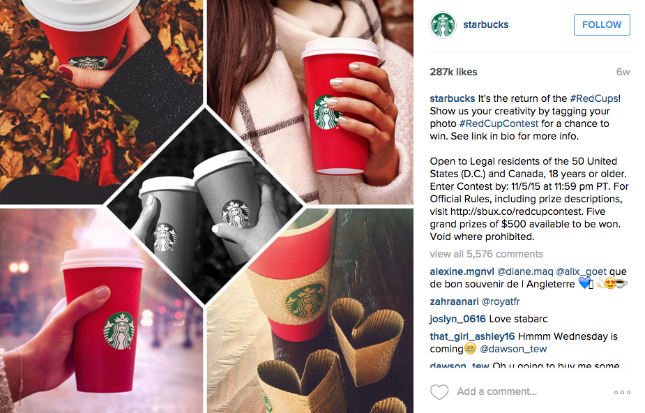 starbucks campaign the red cup contest social media