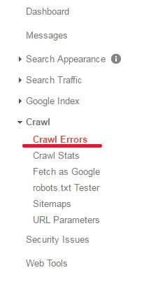 Google Search Console - Crawl Errors
