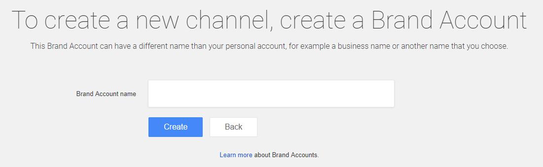 Δημιουργία brand account