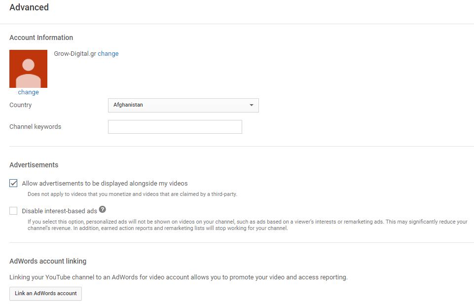 YouTube channel advanced settings
