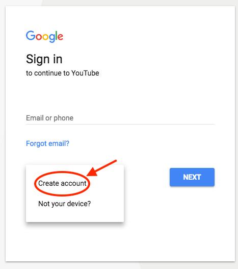 Δημιουργία λογαριασμού Google